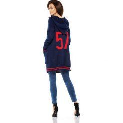 Bolerka i narzutki damskie: Luźny casualowy sweter narzutka  granatowa