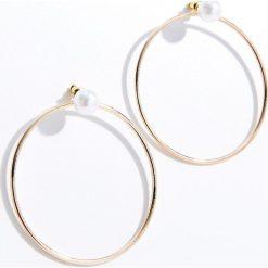 Kolczyki damskie: Duże kolczyki z ekologiczną perłą – Złoty