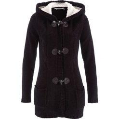 Sweter rozpinany z szenili, długi rękaw bonprix czarny. Czarne kardigany damskie marki bonprix. Za 129,99 zł.