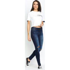 Spodnie damskie: Granatowe Jeansy Greatly