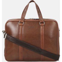 Brązowa torba męska. Brązowe torby na laptopa Kazar, w paski, ze skóry, z tłoczeniem. Za 749,00 zł.
