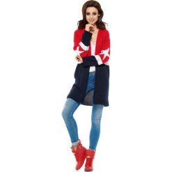 Czerwono Granatowy Kardigan Dwukolorowy z Modnymi Gwiazdkami. Czerwone kardigany damskie marki Molly.pl, l, z jeansu, biznesowe, z dekoltem na plecach, z długim rękawem. Za 149,90 zł.