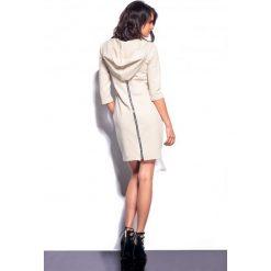 Kobieca sukienka z zamkiem z tyłu beżowy MADISON. Szare sukienki balowe marki bonprix, melanż, z dresówki, z kapturem, z długim rękawem, maxi. Za 99,00 zł.