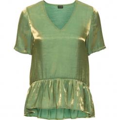 Bluzka z falbaną bonprix zielony. Zielone bluzki z falbaną bonprix, z szyfonu, z dekoltem w serek, z krótkim rękawem. Za 37,99 zł.