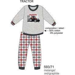 Odzież dziecięca: Piżama chłopięca DR 593/71 Tractor Melanż szara r. 128
