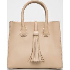 Answear - Torebka. Brązowe torebki klasyczne damskie marki ANSWEAR, w paski, z materiału, średnie. W wyprzedaży za 59,90 zł.
