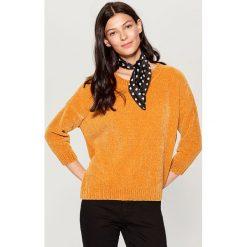 Luźny sweter basic - Żółty. Szare swetry klasyczne damskie marki FOUGANZA, z bawełny. Za 89,99 zł.
