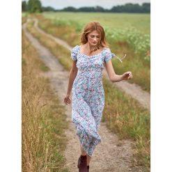 DŁUGA SUKIENKA DAMSKA, W KWIATY, Z MARSZCZENIAMI. Brązowe długie sukienki Top Secret, na jesień, w kwiaty, z długim rękawem. Za 49,99 zł.