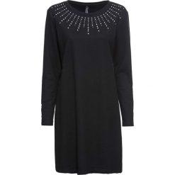 Sukienka dresowa ze sztrasami bonprix czarny. Czarne sukienki dresowe marki bonprix, w kolorowe wzory. Za 89,99 zł.