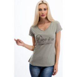 Khaki t-shirt z koralikami 8208. Brązowe t-shirty damskie Fasardi, l. Za 19,00 zł.