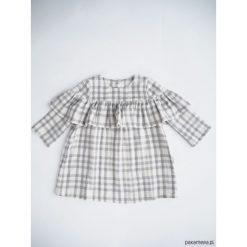 Sukienka z falbanką, DOUBLE. Szare sukienki dziewczęce z falbanami Pakamera, w kratkę, z bawełny, z długim rękawem, długie. Za 95,00 zł.