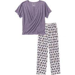 Piżamy damskie: Piżama z shirtem z efektem założenia kopertowego bonprix lila z nadrukiem