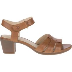 Rzymianki damskie: Sandały skórzane na obcasie Strap