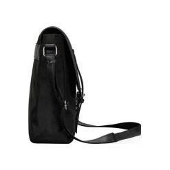 CZARNA TORBA LISTONOSZKA NA RAMIĘ   SKYLAR. Czarne torby na ramię męskie marki Solier, w paski, z tkaniny. Za 109,90 zł.