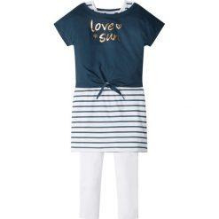 """Odzież dziecięca: Shirt """"boxy"""" + sukienka + legginsy (3 części) bonprix ciemnoniebiesko-biało-złoty"""