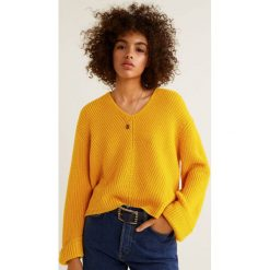 Mango - Sweter Fold. Brązowe swetry klasyczne damskie Mango, l, z dzianiny, z okrągłym kołnierzem. Za 119,90 zł.