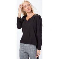 Bluzki asymetryczne: Bluzka elegancka z długim rękawem czarna MP28551
