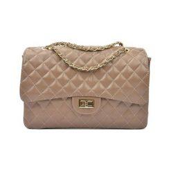 Torebki i plecaki damskie: Skórzana torebka w kolorze fango – (S)22 x (W)32 x (G)12 cm