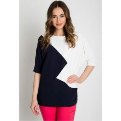 Granatowo-biała tunika z krótkim rękawem BIALCON. Czerwone tuniki damskie marki BIALCON, na co dzień, oversize. Za 195,00 zł.