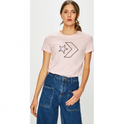 Converse - T-shirt. Szare t-shirty damskie Converse, l, z nadrukiem, z bawełny, z okrągłym kołnierzem. Za 119,90 zł.