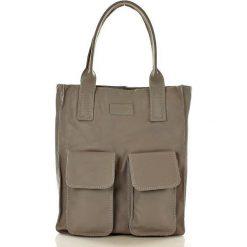 Shopper bag damskie: Torebka shopper z kieszeniami szara MELODY