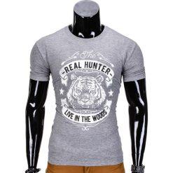 T-SHIRT MĘSKI Z NADRUKIEM S840 - SZARY. Szare t-shirty męskie z nadrukiem Ombre Clothing, m. Za 19,99 zł.