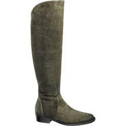 Kozaki za kolano 5th Avenue oliwkowe. Zielone buty zimowe damskie marki 5th Avenue, z materiału, za kolano, na wysokim obcasie, na obcasie. Za 319,90 zł.