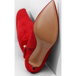 Pura Lopez Kozaki na obcasie red. Czerwone buty zimowe damskie Pura Lopez, z materiału, na obcasie. W wyprzedaży za 839,50 zł.