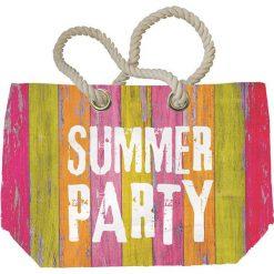 """Shopper bag damskie: Torba plażowa """"Summer Party"""" z kolorowym wzorem - 55 x 38 x 16 cm"""