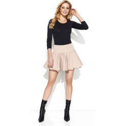 Minispódniczki: Beżowa Rozkloszowana Mini Spódnica z Wysokim Stanem