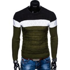 SWETER MĘSKI E134 - KHAKI. Brązowe swetry klasyczne męskie marki Inny, m. Za 49,00 zł.