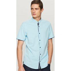Koszule męskie na spinki: Koszula z krótkim rękawem slim fit – Turkusowy