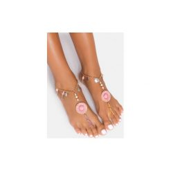 Bransoletki damskie: Jasnoróżowa bransoletka na stopę Shells