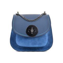 Torebki klasyczne damskie: Skórzana torebka w kolorze niebieskim – (S)16 x (W)19 x (G)10 cm