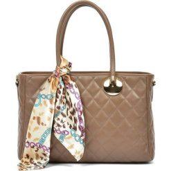 Torebki i plecaki damskie: Skórzana torebka w kolorze fango – (S)23 x (W)32 x (G)12,5 cm