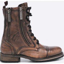 Pepe Jeans - Botki. Szare buty zimowe damskie Pepe Jeans, z jeansu, z okrągłym noskiem, na obcasie, na sznurówki. W wyprzedaży za 359,90 zł.