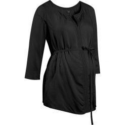 Bluzki, topy, tuniki: Tunika ciążowa z ażurowym haftem bonprix czarny