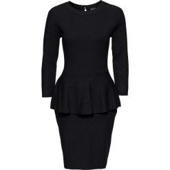 Sukienki balowe: Sukienka dzianinowa z baskinką bonprix czarny