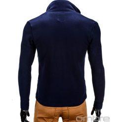 BLUZA MĘSKA ROZPINANA BEZ KAPTURA CARMELO - GRANATOWA. Czarne bluzy męskie rozpinane marki Ombre Clothing, m, z bawełny, z kapturem. Za 69,00 zł.