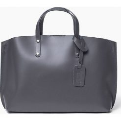 Włoska Torebka Shopper Skórzana szara BLANCA. Szare shopper bag damskie Vera Pelle, w paski, z materiału, na ramię, duże. Za 289,00 zł.