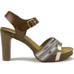 Rzymianki damskie: Skórzane sandały w kolorze brązowym