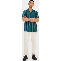 Koszule męskie na spinki: Koszula z krótkim rękawem w zielone paski