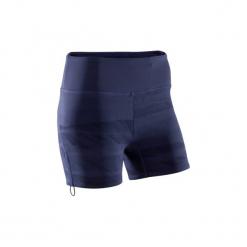 Spodenki YOGA damskie. Niebieskie bermudy damskie DOMYOS, z elastanu. W wyprzedaży za 39,99 zł.