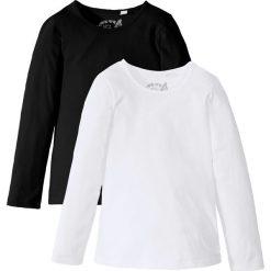 Koszulka z długim rękawem (2 szt.) bonprix czarny + biały. Czarne bluzki dziewczęce marki bonprix, w paski, z dresówki. Za 39,98 zł.