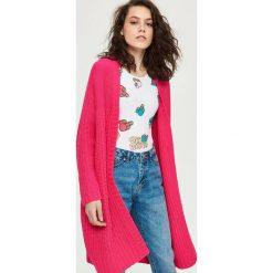 Długi luźny sweter - Różowy. Czerwone swetry klasyczne damskie Sinsay. Za 69,99 zł.