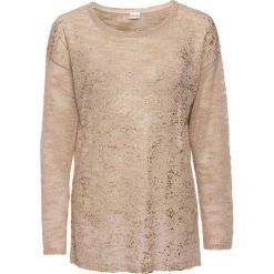 Swetry klasyczne damskie: Sweter dzianinowy z połyskującym nadrukiem bonprix beżowo-złoty