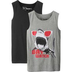 Bluzki dziewczęce z nadrukiem: Koszulka bez rękawów (2 szt.) bonprix jasnoszary melanż z nadrukiem + czarny