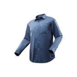 Koszula turystyczna długi rękaw TRAVEL 500 MODUL męska. Niebieskie koszule męskie na spinki marki FORCLAZ, m, z bawełny, z długim rękawem. Za 99,99 zł.