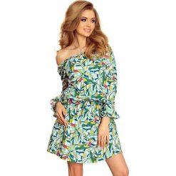 Sukienki: Wzorzysta Dziewczęca Sukienka z Falbankami w Zielone Tukany