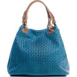 Torebki klasyczne damskie: Skórzana torebka w kolorze morskim – 35 x 28 x 17 cm